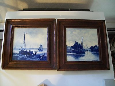 Two Delft Holland Antique Joost Thooft & Labouchere Pictorial Framed Tiles