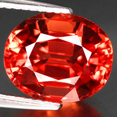 3.60ct. 9x7 mm. LAB CORUNDUM PADPARADSCHA ORANGE SAPPHIRE TOP COLOR AAA+