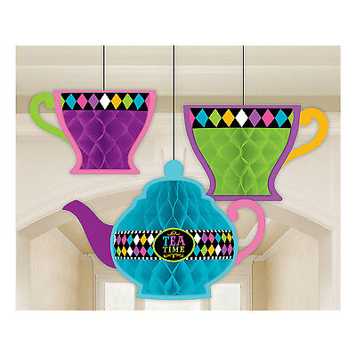 Alice In Wonderland Mad Hatter Tea Party Honeycomb Decorations - Pack Of 3