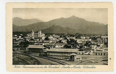 Train Station & City—Santa Marta COLOMBIA Rare Antique Railroad—Tarjeta 1910s