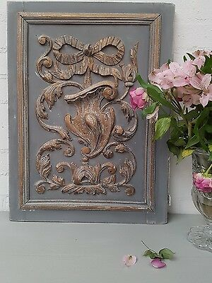 Gorgeous Large Antique French Shabby Chic Chippy Paint Carved Oak Panel - C1900