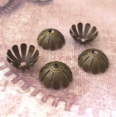 Pack of 20 Floral Brass Bead Caps in Antique Bronze