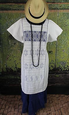Navy Blue & White Huipil Cotzocon weavers Oaxaca Mexico Hippie Boho Beach Cover
