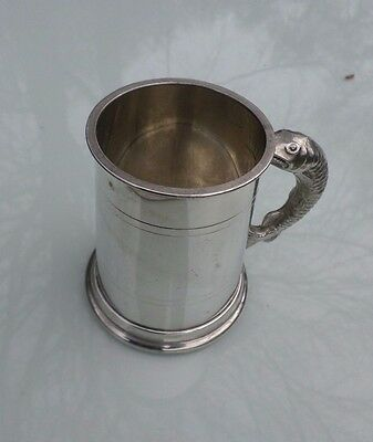 Vintage pewter tankard Small size Fish Handle Made in Sheffield England