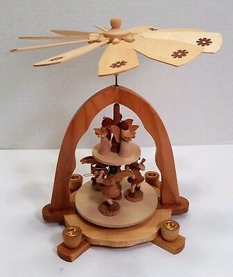 Rotating German Wood Windmill Christmas Angel Candle Spinning Carousel