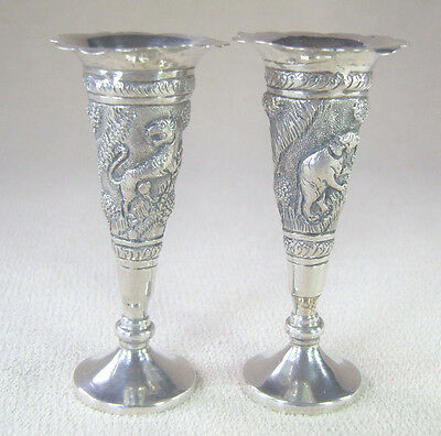 Indian Lucknow silver bud spill vases