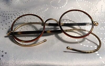 Antique Round eye metal glasses with covered curled sides & no pads & Glass Lens