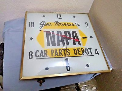 "Dealer Logo NAPA  Lighted Square Gold Frame 15"" Wall Clock Curved Glass Cover!"
