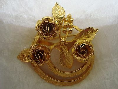 Beautiful Signed CORO Brooch. Gold Tone FLOWER WREATH MOTIF! A Must See!
