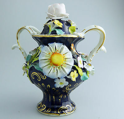 Antique English Ceramics : A coalbrookdale TYPE? Pot Pourri Vase 2 C.19thC