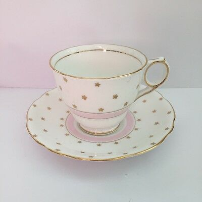 Vintage Tea Cup and Saucer Royal Stafford Bone China Pink White Gold