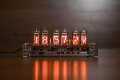 6 Lamps IN-14 Nixie Tube Clock Assembled Tested Clear Acrylic Case with Adapter