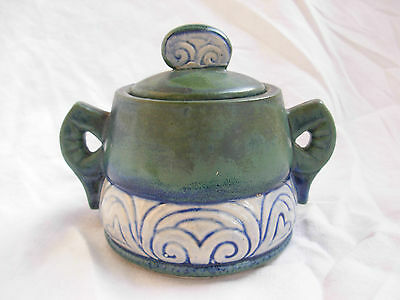 French Art Deco Hb Quimper Stoneware Sugar Bowl,numbered 333.