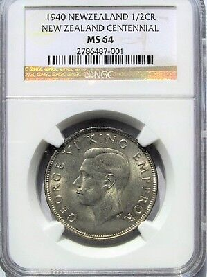 New Zealand 1940 Half Crown 2/6 NGC 64 Silver Centennial, Lots of Luster