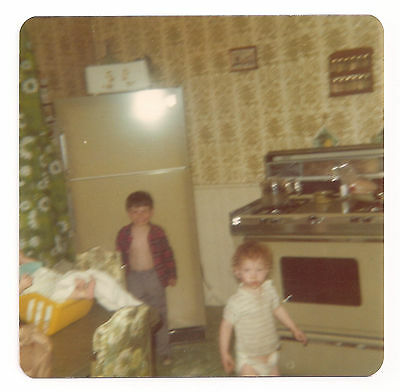 Two Young Boys in Old Retro Kitchen Blurry Vintage Photograph 1970's-80's