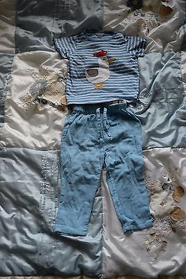 Cath Kidston Kids Baby Boy's trousers and mini boden tshirt 12-18 months