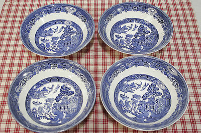 """LOT of Four Johnson Bros. BLUE WILLOW Coupe Cereal Bowls  6""""  MINT!"""