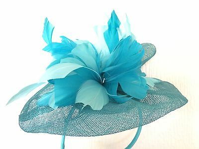 Turquoise Disc & Feather Sinamay Wedding Fascinator Marks & Spencer