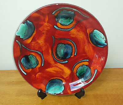 Poole Pottery large Volvano or Peacock plate 27cm red living glaze Excellent