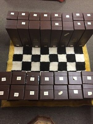 Vintage Old Crow Ceramic Decanter Chessmen Chess Set, complete w rug, boxes