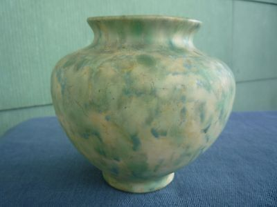 Peters and Reed LANDSUN green blue mottled pottery vase
