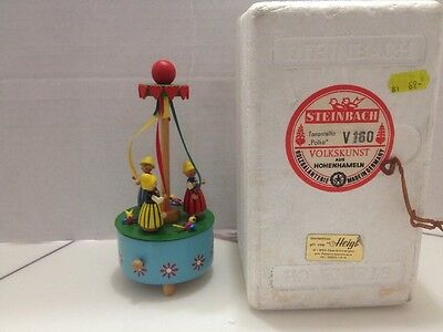 Rare May Pole Vtg Steinbach Music Box Carved Wood Germany Polka With Box