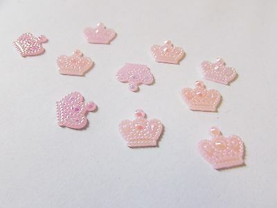 10 pink crowns flatback cabocohon for craft decoden scrapbook bows mobile phone