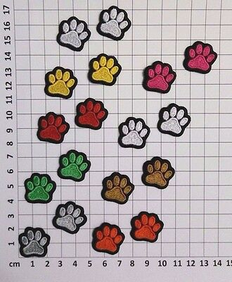 Dog Cat Animal Paw Print Embroidery Sew-On Iron On Applique Patch Choose Colors