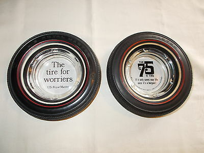 VINTAGE TIRE ASHTRAY U.S Royal Masters The Tire for Worriers and 75TH ANNV.