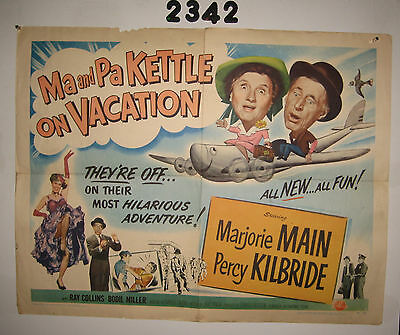 Ma and Pa Kettle on Vacation Original 1/2sh Movie Poster 1953  hillbilly comedy