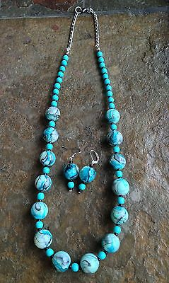 Handmade Turquoise Big Bauble Beads & Wood Beads Statement Necklace Set