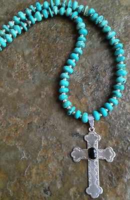 Handmade Western Cowgirl Sterling Silver Onyx Cross Turquoise Necklace