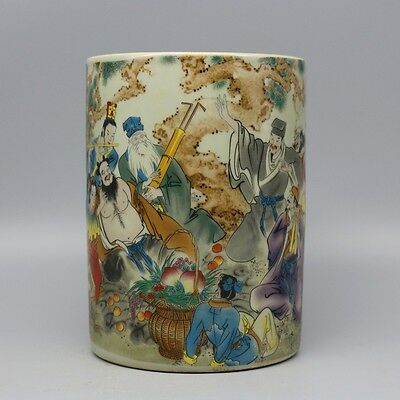 Chinese Old Marked Pastel Eight Immortals Pattern Porcelain Brush Pot
