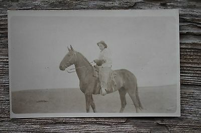 Antique Girl on Horseback Real Photo Postcard RPPC Montana Estate Horse Woman