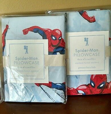 Pottery Barn Kids Spiderman - 2 Standard Pillowcases - New in package