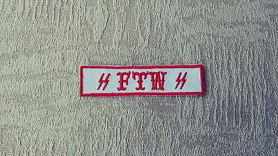Red & White Name Tape FTW Patch Biker 1%er Patch