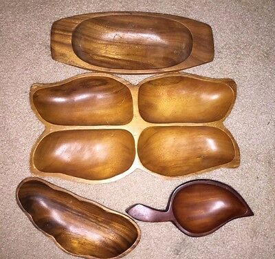 Lot Of 4  Dolphin Monkey Pod Woodenware Serving Bowls Nut Candy Decorative Bowls