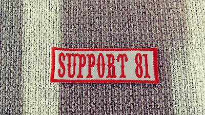 Red & White Support 81 support 81 Name Tape 1%er Patch Biker