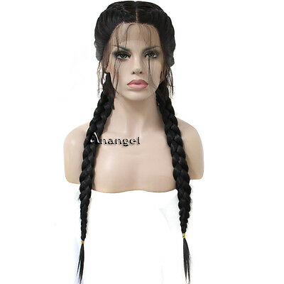 Synthetic Baby Hair Braided Lace Front Wig Straight Long Black Women Hair Wigs