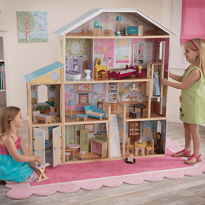 NEW KidKraft Majestic Mansion Dollhouse 34pc Furniture Pretend Play Girls BNIB