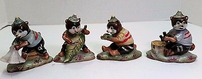 Lot of 4 Vintage Occupied Japan Bears Playing Music Ceramic Orion Figurines