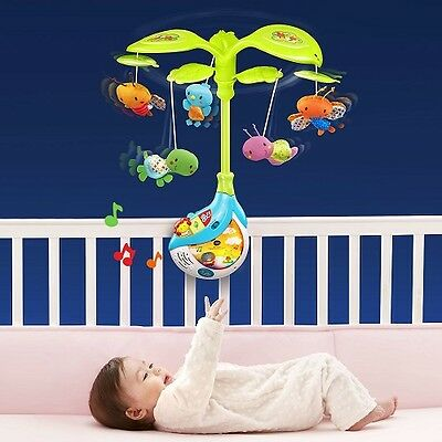 Baby Crib Projector Shooter Toy Soothing Light Music Projection Mobile Newborn