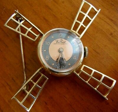 RARE 1940s 14 Kt Gold Vintage Windmill Lapel Watch by Kelbert Manual Wind ~SWISS