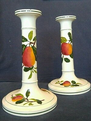 Victorian German Villeroy+Boch Candlesticks Fruit Decoration Pears Oranges
