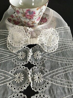 Antique Victorian Gauze Linen Embroidered Dress Bodice Front Piece