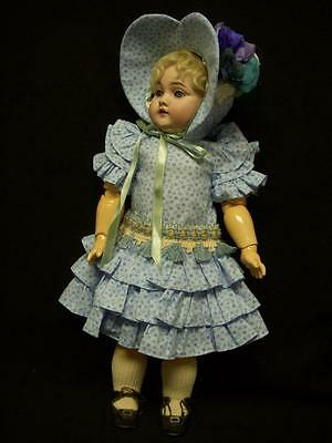 """Ruffle Blue Dress – Antique style for 17-18"""" French and German doll –D21"""