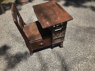 Antique School Desk/Chair With Cubby Hole Drawer Under Seat