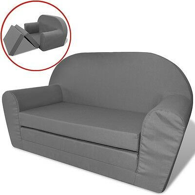 Kindersofa mit Bettfunktion Sofa Sessel Schlafsofa Lounge Kinderzimmer Grau
