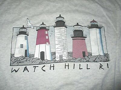 Vintage Hanes Label - WATCH HILL - RHODE ISLAND (XL) T-Shirt LIGHTHOUSES