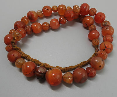 Vintage Ethnic Tribal Natural Carnelian Beads Necklace String MN04